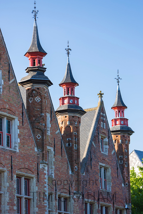 Traditional architecture brick built houses with turrets and towers in Bruges - Brugge - Belgium
