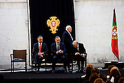 The three former presidents of Portugal, Mario Soares (1986-1996), Ramalho Eanes (1976-1986), Jorge Sampaio (1996-2006) and Cavaco Silva (first from left), current Portuguese President of the Republic, in the ceremonies of the 37 Anniversary of April 25. Date of the revolution in Portugal which destornou the dictatorial regime of Salazar and ordered democracy. Also known as the Carnation Revolution. 25/04/2011 NO SALES IN PORTUGAL