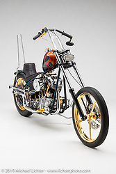 """""""'Fancy as Fuck"""", A flame skinny chopper with a touch of dirt bike influence, made from a 93"""" Pan/Shovel, by LONGjon Barwood, in  Payson, AZ.  Photographed by Michael Lichter in Sturgis, SD on 8/2/18. ©2018 Michael Lichter."""