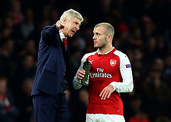 Arsenal manager Arsene Wenger speaks to Jack Wilshere of Arsenal - Mandatory by-line: Robbie Stephenson/JMP - 15/03/2018 - FOOTBALL - Emirates Stadium - London, England - Arsenal v AC Milan - UEFA Europa League Round of 16, Second leg