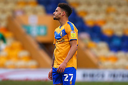 Tyrese Sinclair of Mansfield Town cuts a dejected look after the third goal by Cambridge United - Mandatory by-line: Ryan Crockett/JMP - 20/02/2021 - FOOTBALL - One Call Stadium - Mansfield, England - Mansfield Town v Cambridge United - Sky Bet League Two