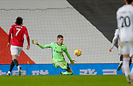 Leeds United goalkeeper Illan Meslier (1) in action  during the Premier League match between Manchester United and Leeds United at Old Trafford, Manchester, England on 20 December 2020.