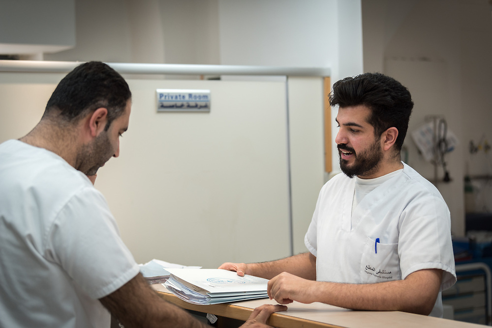24 February 2020, Jerusalem: Nurse Jawad Abu Sahba from Hebron (right) works at the Augusta Victoria Hospital, while studying to complete an MA in Emergency Nursing at university in Ramallah.