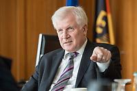 20 JUN 2018, BERLIN/GERMANY:<br /> Horst Seehofer, CSU, Bundesinnenminister, waehrend einem Interview, in seinem Buero, Bundesministerium des Inneren<br /> IMAGE: 20180620-02<br /> KEYWORDS: Büro