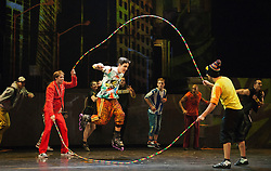"""© Licensed to London News Pictures. 30/09/2013. London, England. The 15 performers from the Canadian troupe Cirque Éloize perform their show """"iD"""" at London's Peacock Theatre from 1 to 19 October 2013. """"iD"""" is a blend of circus arts and urban dance. Photo credit: Bettina Strenske/LNP"""