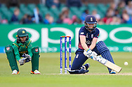 England womens cricket player Heather Knight (capt) hits a boundary for her 100 and century during the ICC Women's World Cup match between England and Pakistan at the Fischer County Ground, Grace Road, Leicester, United Kingdom on 27 June 2017. Photo by Simon Davies.