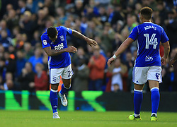 Birmingham City's David Davis (left) celebrates scoring his side's second goal of the game against Crawley Town with Che Adams