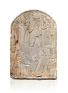 Ancient Egyptian stele dedicated to the god Re-Harakhty by sculptor Ipy, limestone, New Kingdom, 19th Dynasty, (1279-1213 BC), Deir el-Medina, Drovetti cat 7357. Egyptian Museum, Turin. white background, .<br /> <br /> If you prefer to buy from our ALAMY PHOTO LIBRARY  Collection visit : https://www.alamy.com/portfolio/paul-williams-funkystock/ancient-egyptian-art-artefacts.html  . Type -   Turin   - into the LOWER SEARCH WITHIN GALLERY box. Refine search by adding background colour, subject etc<br /> <br /> Visit our ANCIENT WORLD PHOTO COLLECTIONS for more photos to download or buy as wall art prints https://funkystock.photoshelter.com/gallery-collection/Ancient-World-Art-Antiquities-Historic-Sites-Pictures-Images-of/C00006u26yqSkDOM