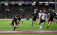Rugby Union - 2017 Autumn Internationals - Scotland vs. New Zealand<br /> <br /> Beauden Barrett of New Zealand scoring the third try at Murrayfield.<br /> <br /> COLORSPORT/LYNNE CAMERON