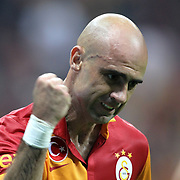 Galatasaray's Cristian Margues Gomes celebrates his goal during their Turkish Super League soccer match Galatasaray between Kayserispor at the TT Arena at Seyrantepe in Istanbul Turkey on Saturday, 27 October 2012. Photo by TURKPIX