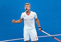 LONDEN - Mink van der Weerden heeft de stand op 1-0 gebracht, woensdag tijdens de Olympische hockeywedstrijd tussen de mannen van  Nederland en Belgie (3-1). ANP KOEN SUYK