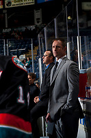 KELOWNA, CANADA - SEPTEMBER 5:  Kelowna Rockets' head coach Jason Smith stands on the bench against the Kamloops Blazers on September 5, 2017 at Prospera Place in Kelowna, British Columbia, Canada.  (Photo by Marissa Baecker/Shoot the Breeze)  *** Local Caption ***