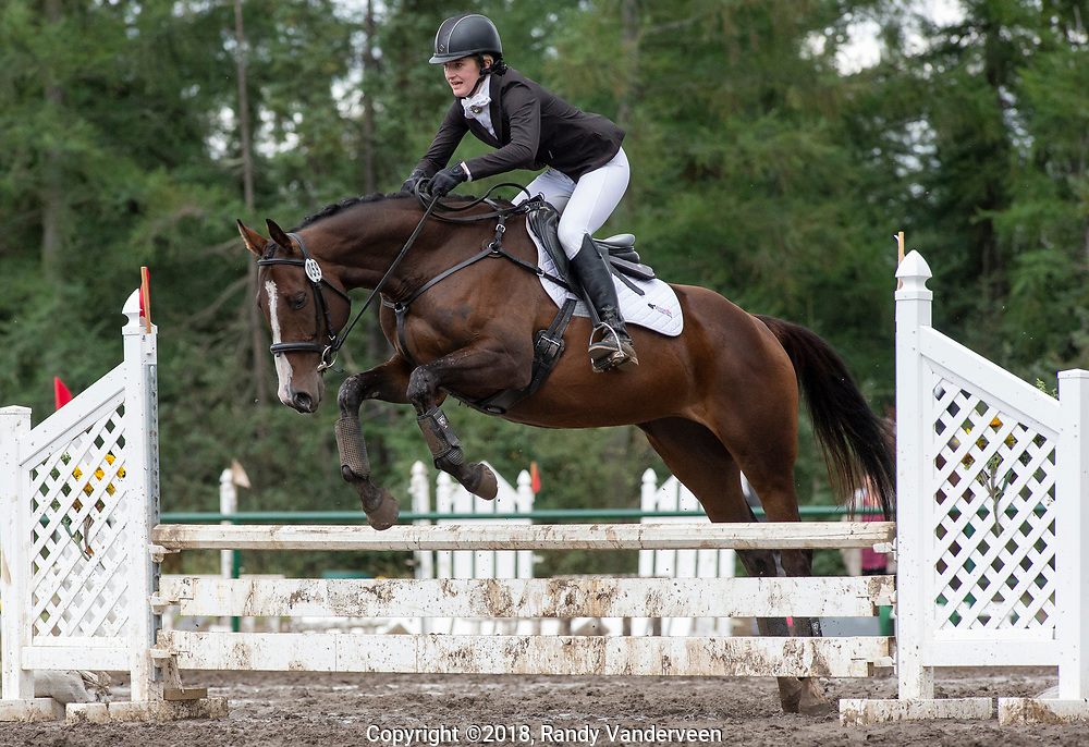 Photo Randy Vanderveen<br /> County of Grande Prairie, Alberta<br /> 2018-09-01<br /> Kayla Schmidt aboard Cause for Joy clears a jump in the show jumping event Saturday afternoon at the South Peace Horse Club's Trials Saturday