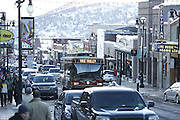 SHOT 3/2/17 6:22:25 PM - Park City, Utah lies east of Salt Lake City in the western state of Utah. Framed by the craggy Wasatch Range, it's bordered by the Deer Valley Resort and the huge Park City Mountain Resort, both known for their ski slopes. Utah Olympic Park, to the north, hosted the 2002 Winter Olympics and is now predominantly a training facility. In town, Main Street is lined with buildings built primarily during a 19th-century silver mining boom that have become numerous restaurants, bars and shops. (Photo by Marc Piscotty / © 2017)