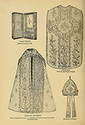 illustration of Christian Religious Implements and ceremonial vestments From ' The pictorial Catholic library ' containing seven volumes in one: History of the Blessed Virgin -- The dove of the tabernacle -- Catholic history -- Apparition of the Blessed Virgin -- A chronological index -- Pastoral letters of the Third Plenary. Council -- A chaplet of verses -- Catholic hymns  Published in New York by Murphy & McCarthy in 1887