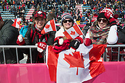 Canadian spectators during the ladies big air qualification during the Pyeongchang Winter Olympics 2018 on February 19th 2018, at the Alpensia Ski Jumping Centre, South Korea