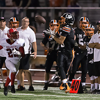 (Photograph by Bill Gerth/ for SVCN/9/8/17)Los Gatos #3 Cole Peterson makes the catch for a big gain vs San Benito  in a preseason football game at Los Gatos High School, Los Gatos CA on 9/8/17. (San Benito 21 Los Gatos 20)