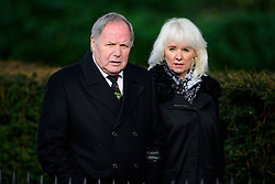 © Licensed to London News Pictures. 01/02/2017. Watford, UK. Football manager BARRY FRY and his wife KRISTINE attend The funeral of former England football team manager Graham Taylor at St Mary's Church in Watford, Hertfordshire. The former England, Watford and Aston Villa manager,  who later went on to be chairman of Watford Football Club, died at the age of 72 from a suspected heart attack. Photo credit: Ben Cawthra/LNP
