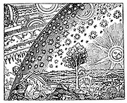 Reconstruction of medieval conception of the universe showing a flat earth surrounded by the crystalline spheres. Figure on left has broken through outermost of these to find the celestial machinery by which they are moved. Woodcut.