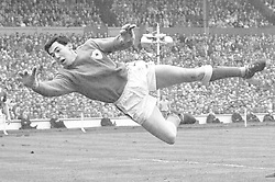 Leicester City's goalkeeper, Gordon Banks at full stretch