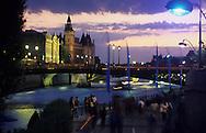 France. Paris. 4th district.  the Seine river quays. the conciergerie, at sunset. summer time