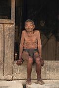 Konyak Naga traditional dress<br /> Konyak Naga headhunting Tribe<br /> Mon district<br /> Nagaland,  ne India