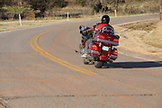 Gary Miller on his Honda GL1800 Goldwing motorcycle in central Oklahoma