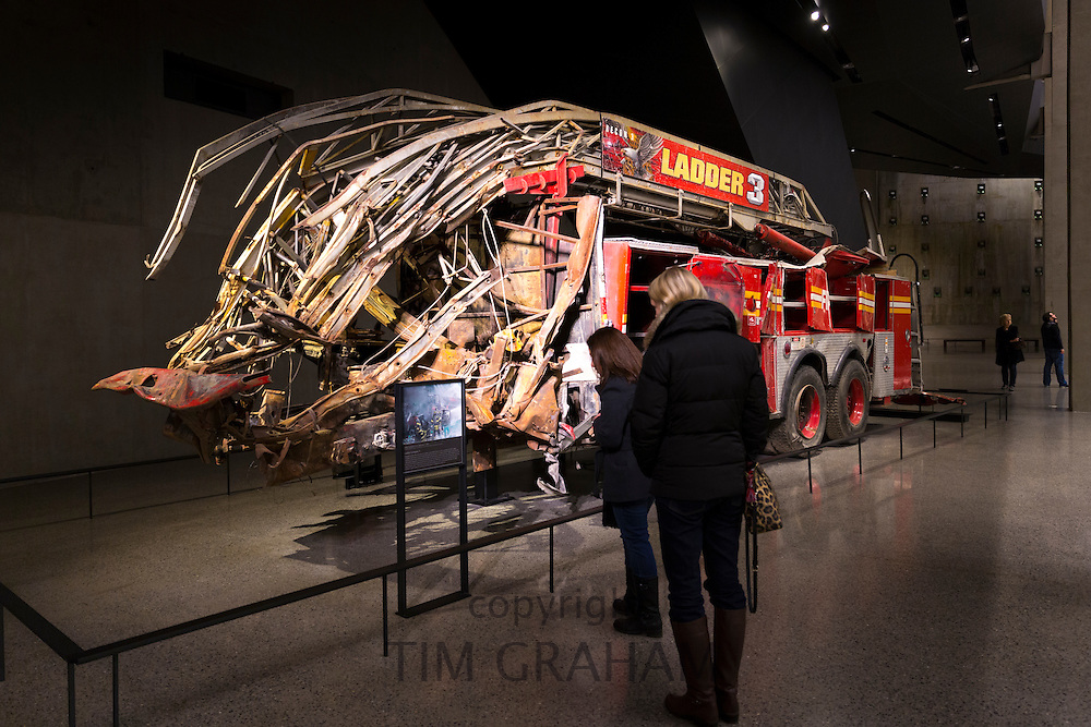 New York City  Fire Department Ladder Company 3 exhibit at 9/11 Memorial Museum, The World Trade Center, New York, USA