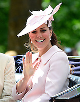 LONDON, UK: The Duchess of Cambridge attends Trooping the Colour in London, UK, on the 15th June 2013