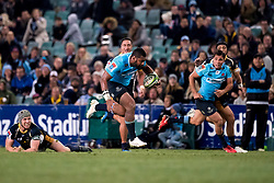 July 14, 2018 - Sydney, NSW, U.S. - SYDNEY, NSW - JUL 14: Waratahs player Taqele Naiyaravoro (11) breaks the tackle of Brumbies player David Pocock (7) at week 19 of the Super Rugby between The Waratahs and Brumbies at Allianz Stadium in Sydney on July 14, 2018. (Photo by Speed Media/Icon Sportswire) (Credit Image: © Speed Media/Icon SMI via ZUMA Press)
