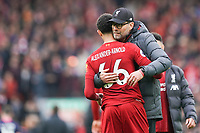Football - 2019 / 2020 Premier League - Liverpool vs. AFC Bournemouth<br /> <br /> Liverpool manager Jürgen Klopp hugs Liverpool's Trent Alexander-Arnold at the end of the match, at Anfield.<br /> <br /> <br /> COLORSPORT/TERRY DONNELLY