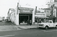 1976 Hollywood Famous Florist, Studio Barber Shop & Power House Bar on Highland Ave, north of Hollywood Blvd.