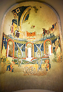 Apse of Santa Maria d'Aneu<br /> <br /> Late eleventh century - the beginning of the twelfth century<br /> Fresco transferred to canvas from the Church of Santa Maria d'Aneu, La Guingueta d'Aneu, Pollars Sobira, Spain.<br /> <br /> Acquisition of Museums Board of the 1919-23 campaign. MNAC 15874<br /> <br /> The iconography of the Romanesque frescoes of the Apse of Santa Maria d'Aneu shows the strong intellectualization of Romanesque art, which often waves the narrative in favor of symbolic concepts. Images of the Old Testament prophecy occupy the central part of the apse: the Seraphim of Isaiah's vision, burning embers that purify the words of Isaiah and of Elijah and four-wheel chariot of fire of Yahweh according to the vision of Ezekiel..<br /> <br /> If you prefer you can also buy from our ALAMY PHOTO LIBRARY  Collection visit : https://www.alamy.com/portfolio/paul-williams-funkystock/romanesque-art-antiquities.html<br /> Type -     MNAC     - into the LOWER SEARCH WITHIN GALLERY box. Refine search by adding background colour, place, subject etc<br /> <br /> Visit our ROMANESQUE ART PHOTO COLLECTION for more   photos  to download or buy as prints https://funkystock.photoshelter.com/gallery-collection/Medieval-Romanesque-Art-Antiquities-Historic-Sites-Pictures-Images-of/C0000uYGQT94tY_Y