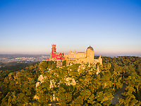 Aerial view of park and National palace of Pena, Portugal.
