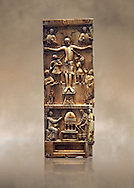 Medieval ivory plaque depicting the Crucifixion and the saints at the tomb, end of 11th cent from Salerne or Amalfi. AD. Inv OA 4085, The Louvre Museum, Paris. .<br /> <br /> If you prefer you can also buy from our ALAMY PHOTO LIBRARY  Collection visit : https://www.alamy.com/portfolio/paul-williams-funkystock/romanesque-art-antiquities.html . Type-         Ivory      - into the LOWER SEARCH WITHIN GALLERY box. Refine search by adding background colour, place, museum etc<br /> <br />  Visit our MEDIEVAL PHOTO COLLECTIONS for more   photos  to download or buy as prints https://funkystock.photoshelter.com/gallery-collection/Medieval-Romanesque-Art-Antiquities-Historic-Sites-Pictures-Images-of/C0000uYGQT94tY_Y