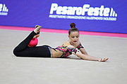 Kafkova Barbora from the Czech Republic is competing in the Rhythmic Gymnastics World Cup at Vitrifrigo Arena on May 28/29 2021, Pesaro, Italy. She was born in Hradec Kralove in 2004<br /> .