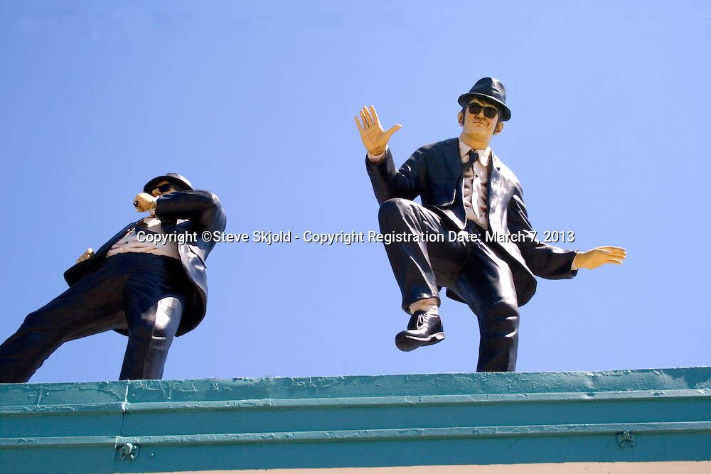 Blues Brothers on The Community Public Art Tour beside Historic Route 66. Joliet Illinois IL USA