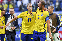 July 3, 2018 - Saint Petersburg, Russia - Viktor Claesson and Andreas Granqvist of Sweden celebrate during the 2018 FIFA World Cup Round of 16 match between Sweden and Switzerland at Sankt Petersburg Stadium in Sankt Petersburg, Russia on July 3, 2018  (Credit Image: © Andrew Surma/NurPhoto via ZUMA Press)