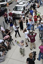 June 15, 2017 - Norristown, Pennsyvlania, United States - Activist BIRD MILLIKEN, of Philadelphia protests, with drum band, outside Montgomery County Courthouse on the fourth day of jury deliberating in the Bill Cosby Aggravated Indecent Assault trial. (Credit Image: © Bastiaan Slabbers/NurPhoto via ZUMA Press)