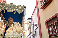 The last float of the Holy Week on Easter day, carrying the Virgin Mary. La resurrecion is the last of the procession of the Holy Week, until the next year. Seville, Spain