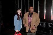 LENKA PADYSAKOVA; CLIVE ROWE, Clybourne Park Press night. Opened at Wyndham's Theatre. Party afterwards at Mint Leaf, Haymarket, London. 8 February 2011.  -DO NOT ARCHIVE-© Copyright Photograph by Dafydd Jones. 248 Clapham Rd. London SW9 0PZ. Tel 0207 820 0771. www.dafjones.com.