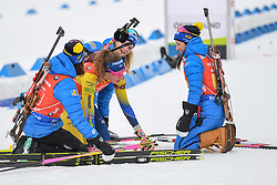 March 16, 2019 - –Stersund, Sweden - 190316 Hanna Öberg, Mona Brorsson, Anna Magnusson and Linn Persson of Sweden celebrate after the Women's 4x6 km Relay during the IBU World Championships Biathlon on March 16, 2019 in Östersund..Photo: Petter Arvidson / BILDBYRÃ…N / kod PA / 92268 (Credit Image: © Petter Arvidson/Bildbyran via ZUMA Press)