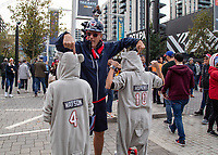 American Football - 2019 NFL Season (NFL International Series, London Games) - Houston Texans vs. Jacksonville Jaguars<br /> <br /> Houston Texans fans pose in and enjoy the build up to the game at Wembley Stadium.<br /> <br /> COLORSPORT/DANIEL BEARHAM