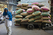 Sacks of dates at Khari Baoli Spice and Dried Foods Market in Old Delhi, India