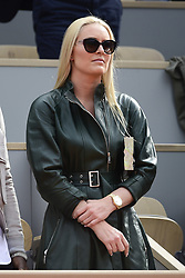 May 29, 2019 - Paris, France: Lindsey Vonn wears a green leather jacket with black belt and sunglasses as she watches 2019 French Open (Credit Image: © Panoramic via ZUMA Press)