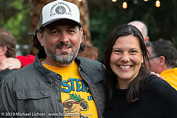 Jasmin and Holger Mohr at a gathering at the home of Kim and Jon Borneman after the Arlen Ness Memorial - Celebration of Life. Pleasanton, CA, USA. Saturday, April 27, 2019. Photography ©2019 Michael Lichter.