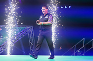 Gary Anderson enters the arena during the PDC Premier League Darts Night 11 at Marshall Arena, Milton Keynes, United Kingdom on 6 May 2021.