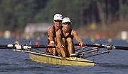 Atlanta, USA. USA LW2X, Teresa BELL , Lindsay BURNS .1996 Olympic Rowing Regatta Lake Lanier, Georgia [Mandatory Credit Peter Spurrier/ Intersport Images]