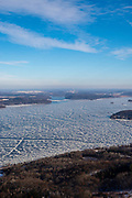 Aerial view of Lake Wisconsin, Wisconsin in the winter on an overcast day.