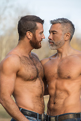 sexy shirtless gay couple outdoors together